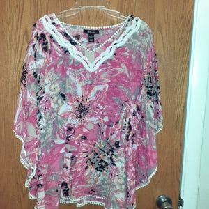 Style & Co. Pink, White,& Black Blouse
